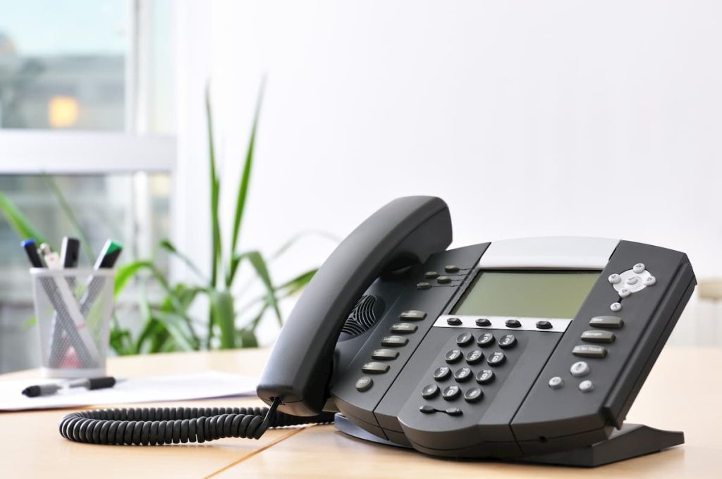 VoIP Telephone on the office desk