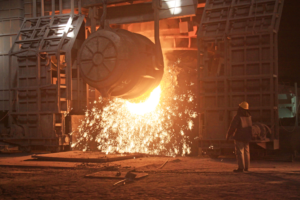 metals getting melted at a factory